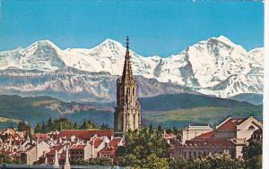 Switzerland Berne La Cathedrale und die Alpen