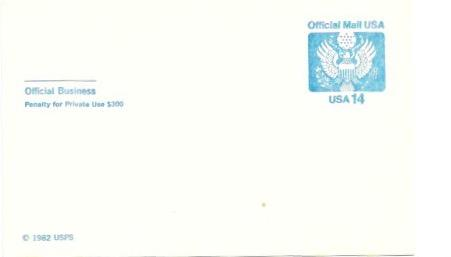 US Postcard Mint. Official Mail USA  Issued in 1982.