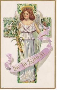 EASTER: He Is Risen Angel standing in front of Cross, Lilly Flowers, 00-10s