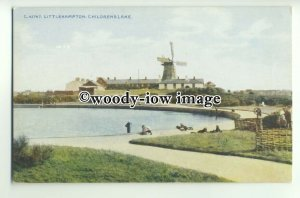 tp9755 - Sussex - The Children's Lake and Windmill, at Littlehampton - postcard