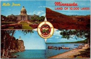 Vintage 1960s MINNESOTA Multi-View Greetings Postcard Stat Capitol / Pit Mine