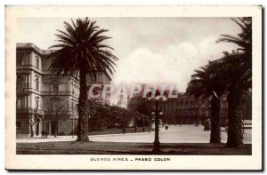 Argentina Buenos Aires Old Postcard Palms Paseo Colon