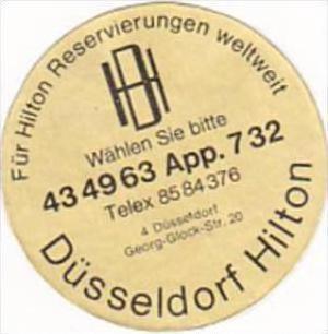GERMANY DUESSELDORF HILTON HOTEL VINTAGE LUGGAGE LABEL