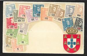 PORTUGAL Stamps on Postcard Embossed Shield Unused c1905