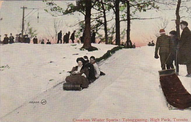 Canada Toronto Canadian Winter Sports Tobogganing In High Park 1908
