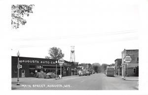 Augusta WI~Main Street~Tydol Flying A Gas Station~Theatre~Water Tower~1950s RPPC