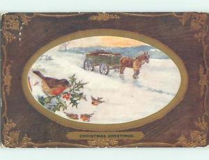 Pre-Linen christmas tuck BIRD WATCHES HORSE PULLING OLD WAGON hk9515