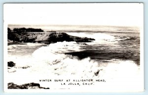 RPPC LA JOLLA, CA ~ Winter Surf ALLIGATOR HEAD c1940s San Diego County Postcard