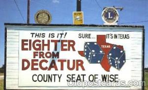 Texas, Rotery, Lions, Billboard Road Sign, Postcard Post Card  Texas, Rotery,...