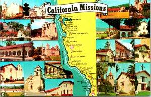Spanish Missions Maps California Postcard unused (20145)