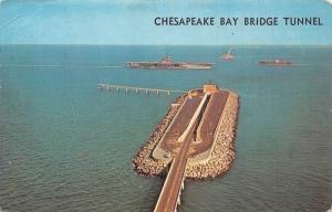 USA Chesapeake Bay Bridge Tunnel Aerial view Ship Bateaux 1967