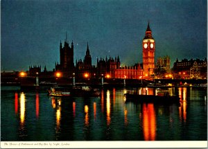House of Parliament and Big Ben London England UK at Night Postcard unused 1980s