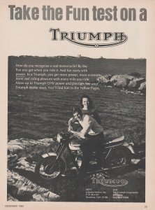 Triumph Motorcycle 1966 Print Ad, Couple by the Ocean, Take the Fun Test