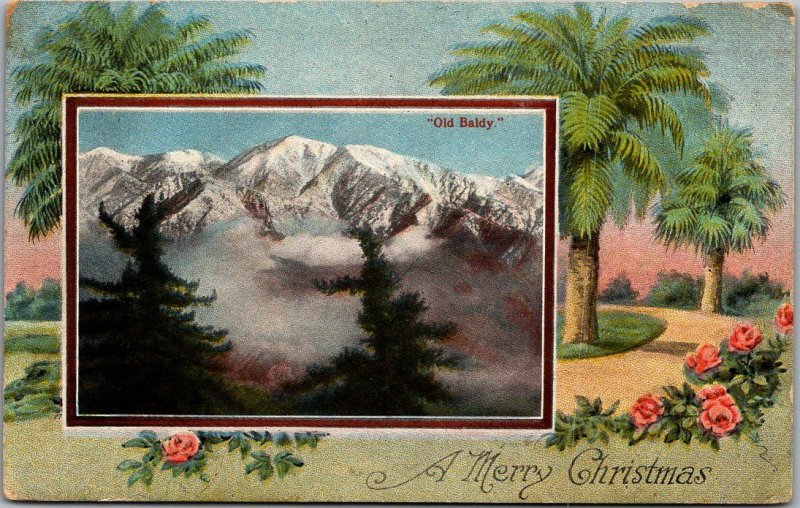Vintage California CHRISTMAS Postcard Old Baldy Mount Baldy View / 1922 Cancel