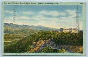 Postcard CA Hollywood Don Lee Television Broadcasting Station W6XAD Linen Q13