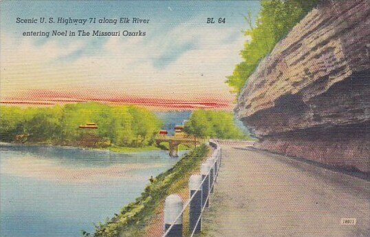 Scenic U S Highway 71 Along Elk River Entering Noel In The Missouri Ozarks Mi...