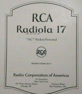 RCA Radiola 17 Vintage Original 1927 Instruction Manual Radio Victor 8 Pages