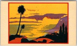 SANTA BARBARA California Postcard Beach Scene SHEEHAN Serigragh Screen-Printed