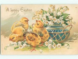 Pre-Linen easter CHICKS BY LILY OF THE VALLEY FLOWERS IN ANTIQUE POTTERY W6971