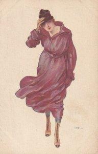 Art Deco Woman in purple , 1910s
