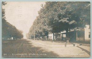 Sturgis MI~506-502 E Chicago St (Now Rd)~Fire Hydrant~Stone Porch RPPC 1908 PC