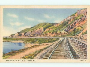 Linen TRAIN TRACKS BY THE RIVER St. Joseph Missouri MO AE6245