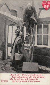LEAP YEAR, 1908; Rhyme, Woman helping man down ladder to elope