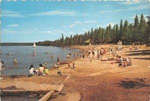 Lot100 beach scene waskesiu lake prince albert national park saskatchewan canada