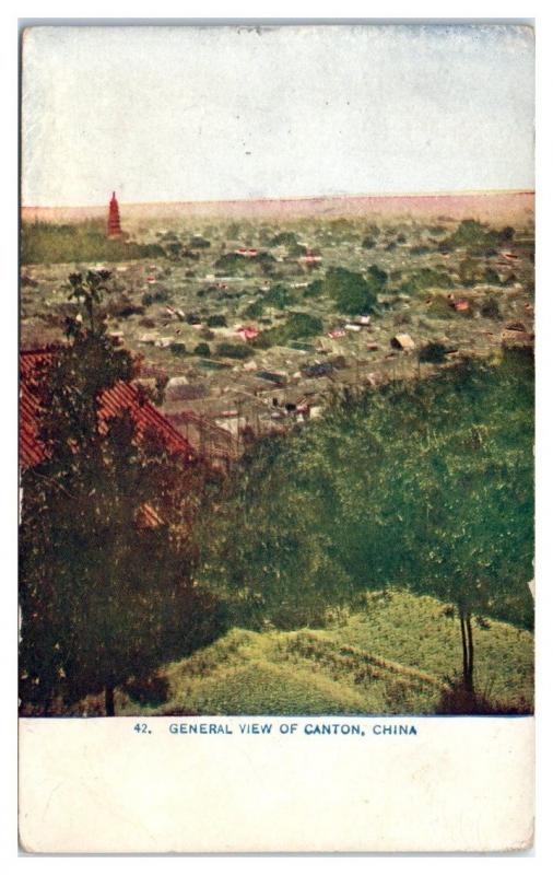 Early 1900s General View of Canton, China Postcard