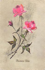 Bonne Fete, roses flowers souvenir, Birthday Aquarell
