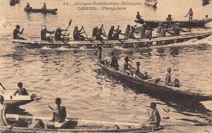 Senegal Dakar - Piroguiers, Pirogues, long canoe boats, native people