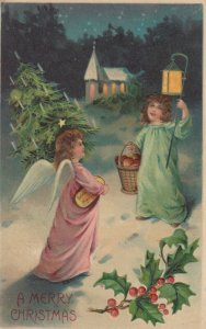 CHRISTMAS , 1900-10s; Children , Lamb & RabbitAngel carring tree meets cild in w