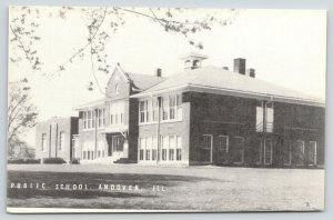 Andover Illinois~Public School~Large Lawn in Front-Side~1950s Postcard