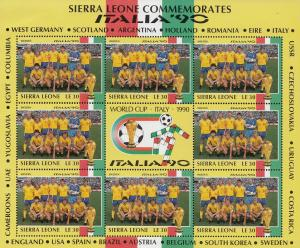 Sweden Swedish Football World Cup Italia 1990 Rare Full Sheet Block Of Limite...
