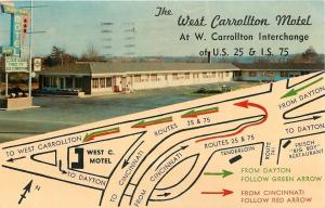 Dayton OH~West Carrollton San-Rae Motel @ Interstate 75~Map~Telephone Booth 1968