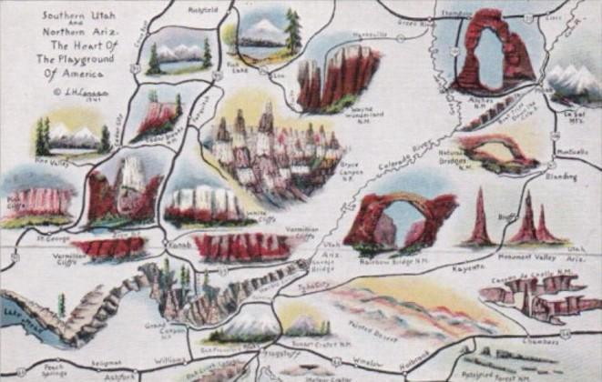 Map Of Southern Utah & Northern Arizona By Cowboy Artist L H Dude ...