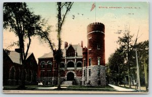 Utica New York~State Armory~Cannon Display~View Looking Down Street~1912