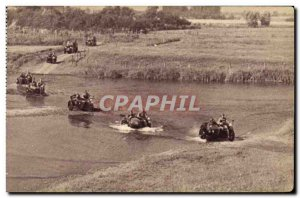 Postcard Old Army Platoon motorcycle passing a gue
