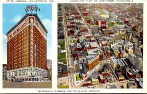 Indiana Indianapolis Downtown Aeroplane View and Hotel Lincoln 1947