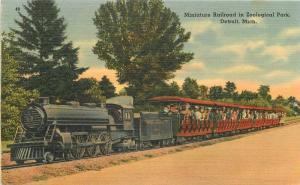 Amusement 1940s Miniature Railroad Zoological Park Detroit Publishing 9227