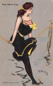 Palm Beach Girl Bathing Beauty King Vintage Postcard JJ658730