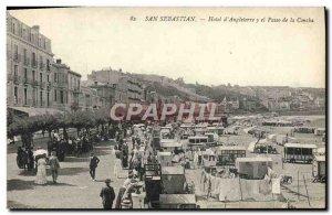 Postcard Old San Sebastian Hotel d & # 39Angleterre y el Paseo de la Concha