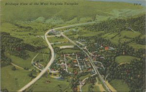 Bird's Eye View of West Virginia Turnpike, Piney Creek Vintage Postcard