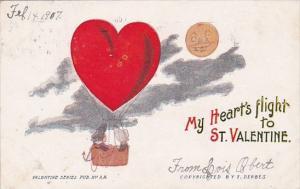 Valentine's Day My Heart's Flight Heart Shaped Hot Air Balloon 1907