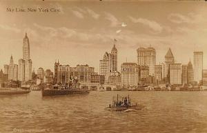 New York NY New York City Skyline Ship Boats real photo postcard.
