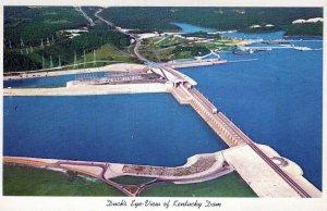 KY, Aerial View of Kentucky Dam, Gilbertsville, Kentucky Postcard, Curt Teich