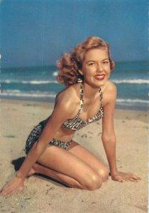risque pinup charming blonde model semi-modern postcard