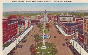 P1273 vintage unused postcard street view old cars public square watertown ny