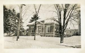 NH - Whitefield, The Library in Winter  RPPC