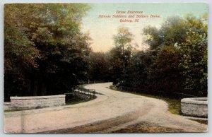 Quincy Illinois~Civil War Soldiers & Sailors Home Curvy Drive Entrance~c1910